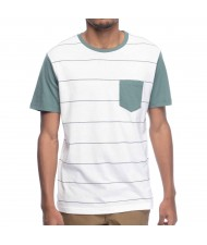 Custom Made Zega Apparel Cut and Sew Striped Pocket T shirt