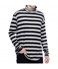 Custom Made Zega Apparel Hi Neck Long Sleeve Stripe T shirt