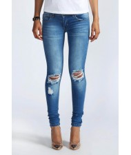 cut and sew Distressed Rip knee Skinny Jeans