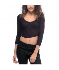 cut and sew Custom Made Women's Henley Style Crop Tops